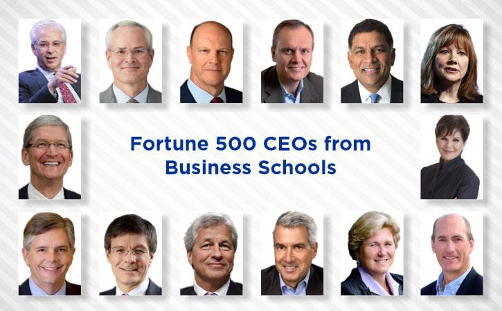 مدیران عامل ۵۰۰ شرکت برتر فروش آمریکا که از فارغالتحصیلان دانشکده های کسبوکار اند.